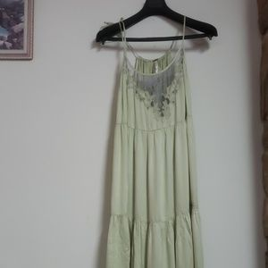 Free People Light Green Silky Maxi Dress